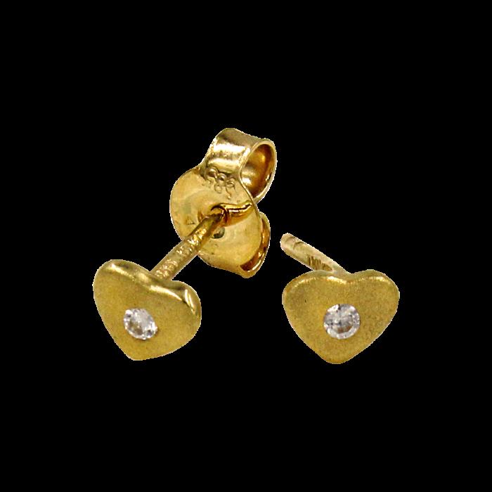 Σκουλαρίκια καρδιές χρυσά 14Κ - PSK1040