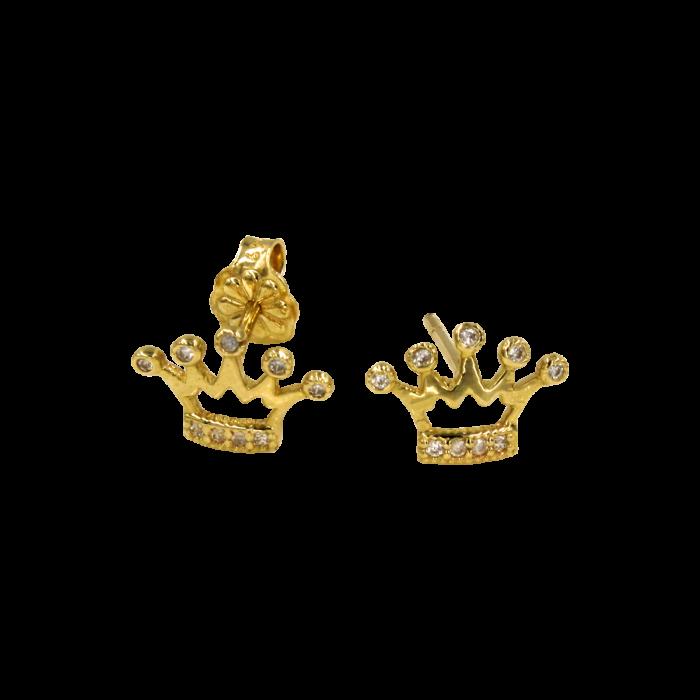 Σκουλαρίκια κορώνες χρυσά 14Κ - PSK1041