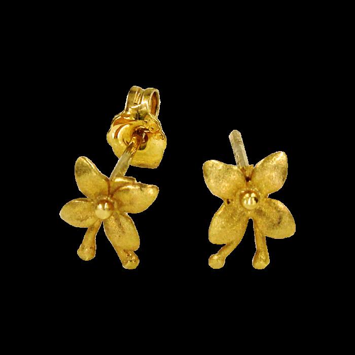Σκουλαρίκια λουλούδια χρυσά 14Κ - PSK1043
