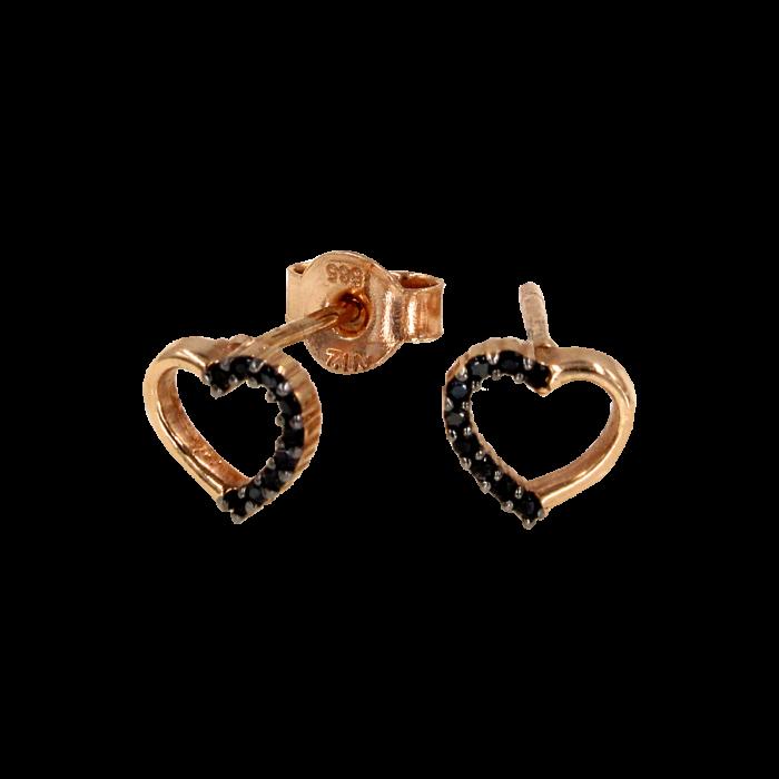 Σκουλαρίκια καρδιές μπρονζέ 14Κ - PSK1049