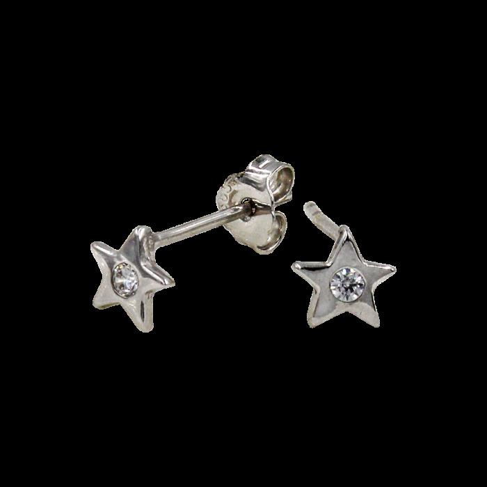 Σκουλαρίκια αστέρια λευκόχρυσα 14Κ - PSK1061