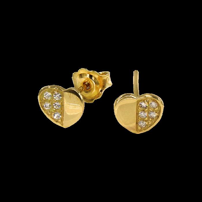 Σκουλαρίκια καρδιές χρυσά 14Κ - PSK1064K