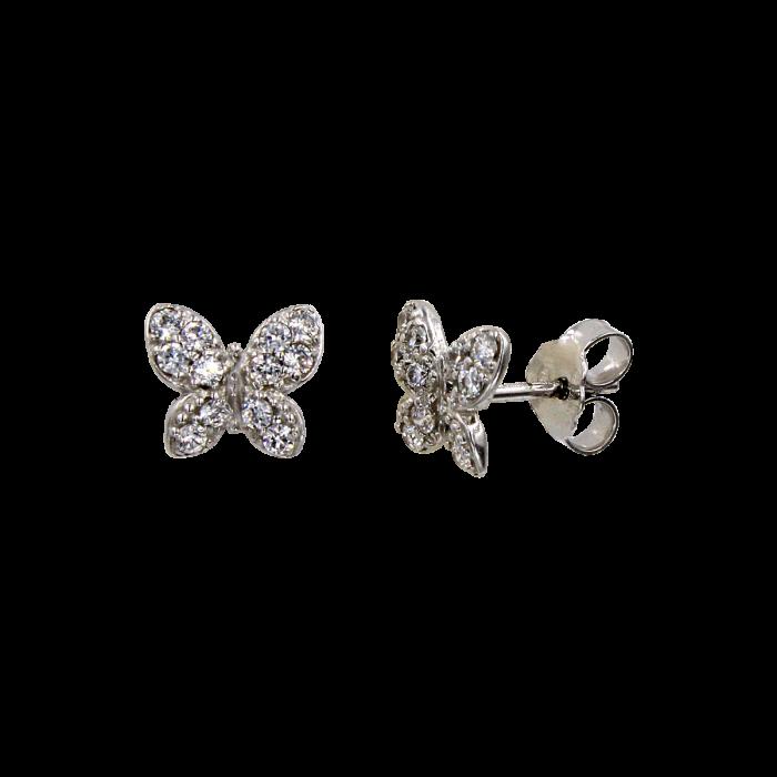 Σκουλαρίκια πεταλούδες λευκόχρυσα 14Κ - PSK1071