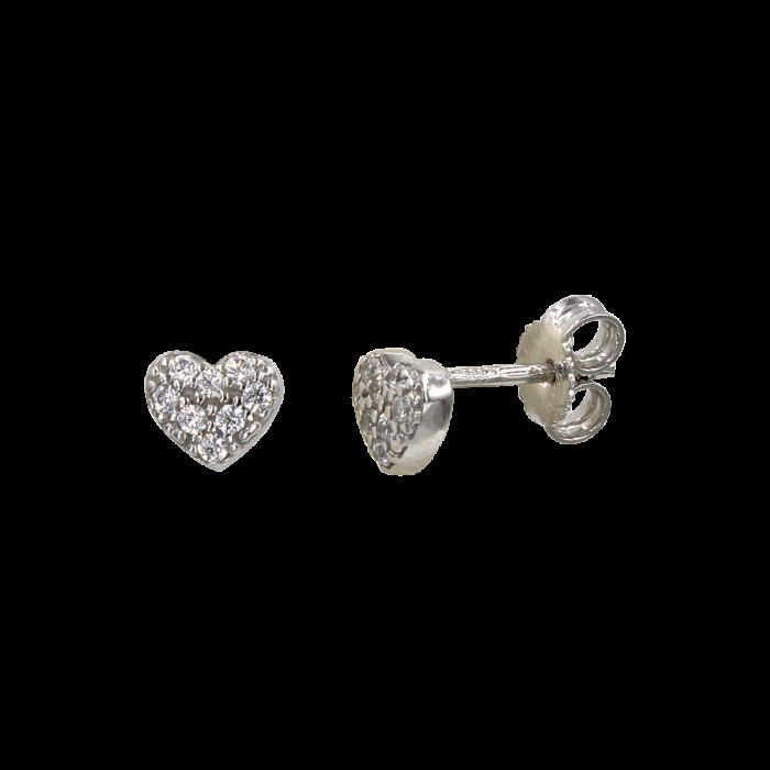 Σκουλαρίκια καρδιές λευκόχρυσα 14Κ - PSK1073