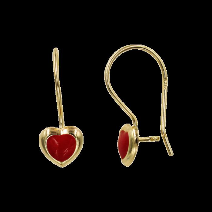 Παιδικά σκουλαρίκια κρεμαστά καρδιές χρυσά 9Κ - PSK1076