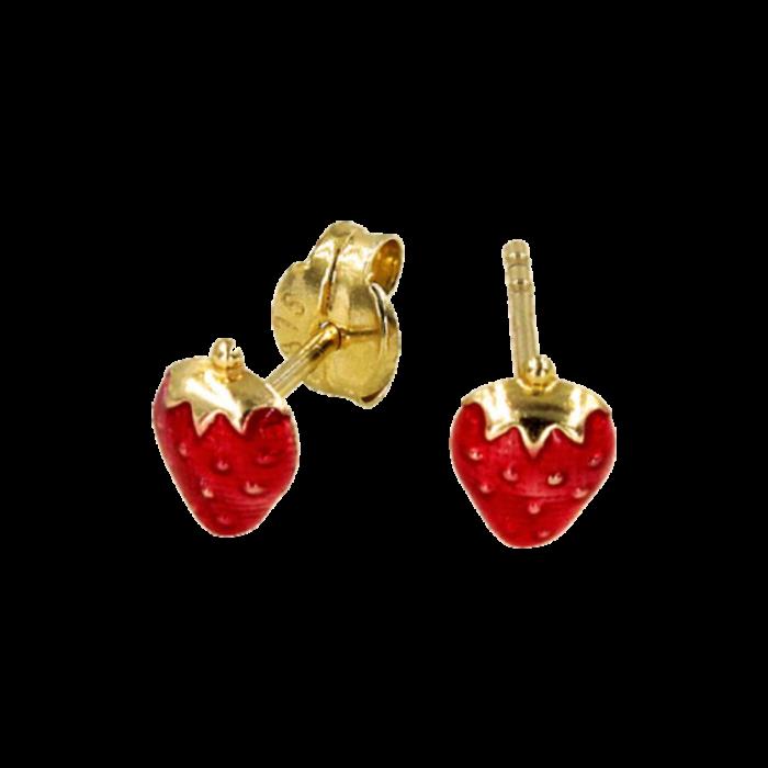 Παιδικά σκουλαρίκια φράουλες χρυσά 9Κ - PSK1085