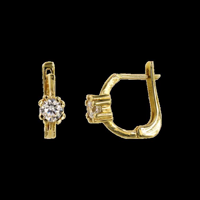Σκουλαρίκια κρεμαστά χρυσά 14Κ με ζιργκόν πέτρες - S1072