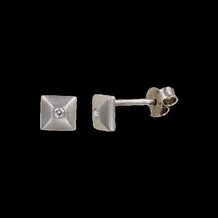 Σκουλαρίκια λευκόχρυσα 14Κ με ζιργκόν πέτρες - S1094