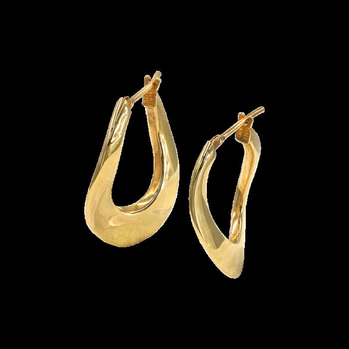 Σκουλαρίκια Κρίκοι οβάλ χρυσά 14Κ - SK1011