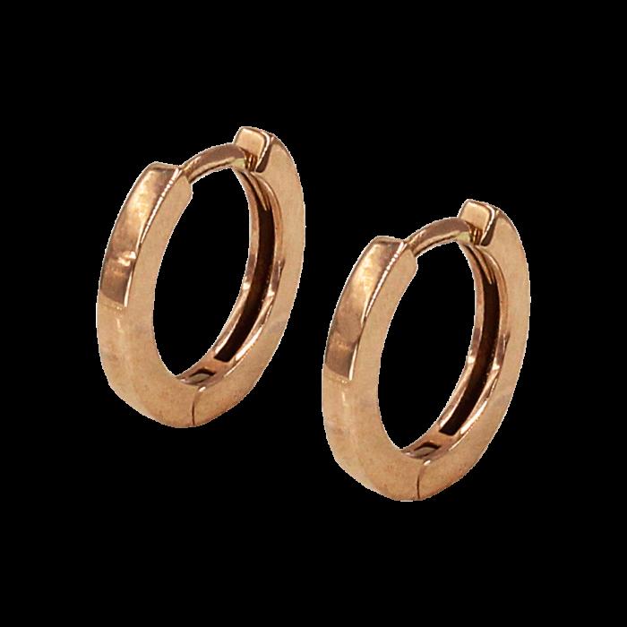 Σκουλαρίκια Κρίκοι ροζ χρυσό 14Κ - SK1022