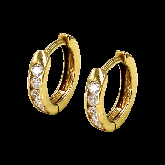 Σκουλαρίκια Κρίκοι χρυσά 14Κ με ζιργκόν - SK1027