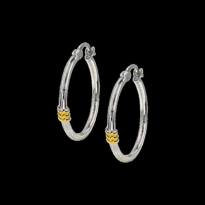 Σκουλαρίκια Κρίκοι λευκόχρυσα 14Κ - SK1035