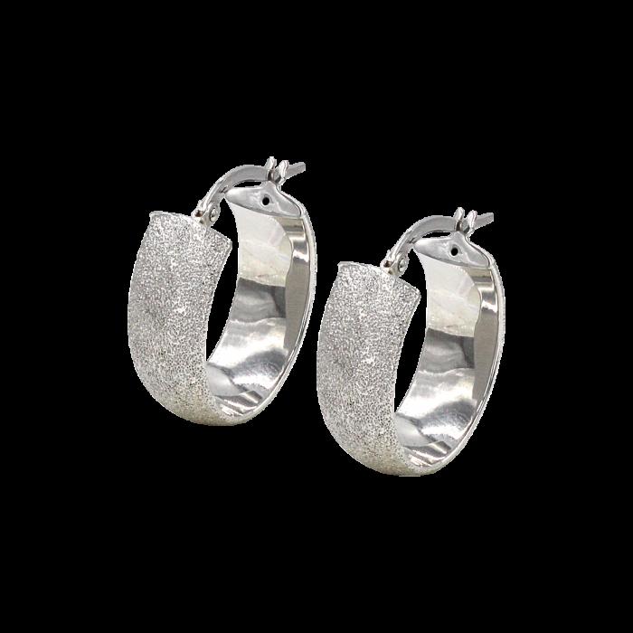 Σκουλαρίκια Κρίκοι οβάλ λευκόχρυσα 14Κ - SK1040
