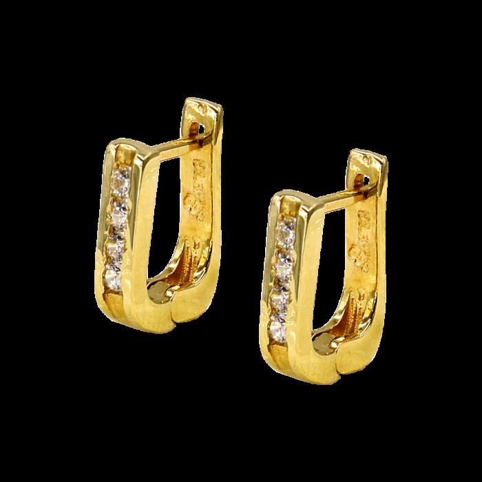Σκουλαρίκια Κρίκοι οβάλ χρυσά 14Κ με ζιργκόν - SK1049K