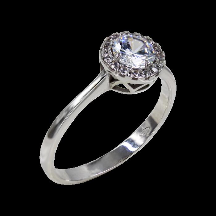 Δαχτυλίδι Ροζέτα Λευκόχρυσο 14Κ - D1064L