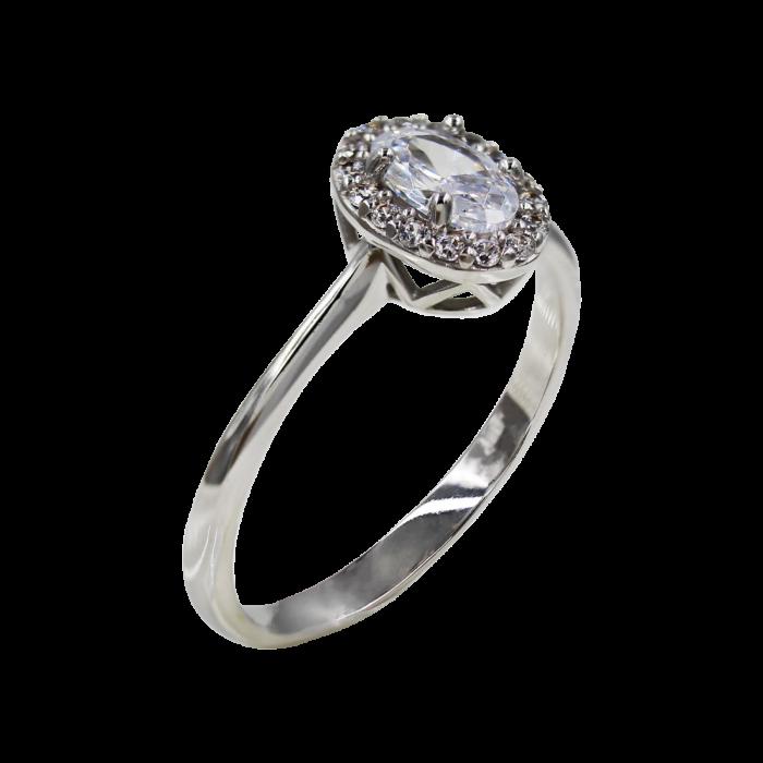Μονόπετρο Δαχτυλίδι Λευκόχρυσο 14Κ - MD1070