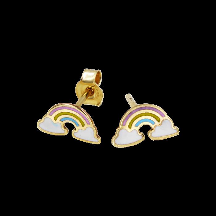 Παιδικά Σκουλαρίκια Ουράνιο Τόξο Χρυσά 9Κ - PSK1093